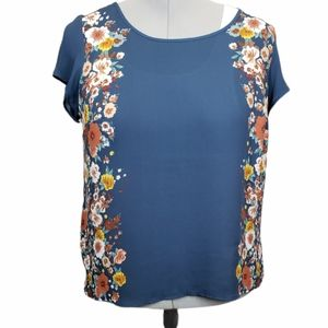 Torrid Floral Print Knit to Woven Top 1X